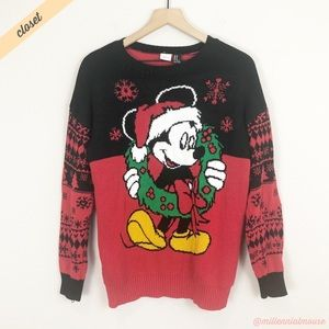 [Disney] Red/Black Mickey Mouse Christmas Sweater